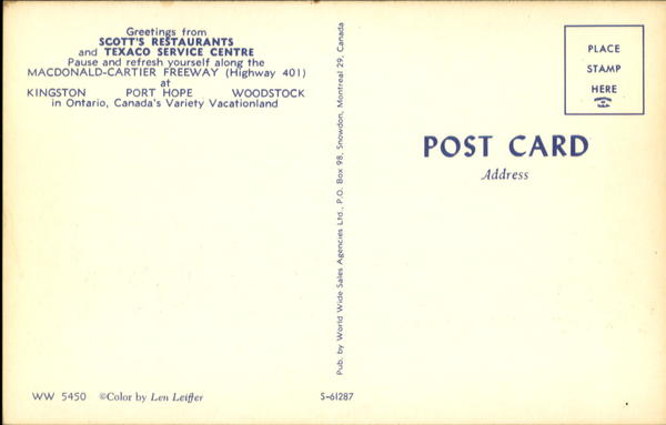 A 1960s postcard of kohl's rest stop describes locations in Kingston, Port Hope and Woodstock.