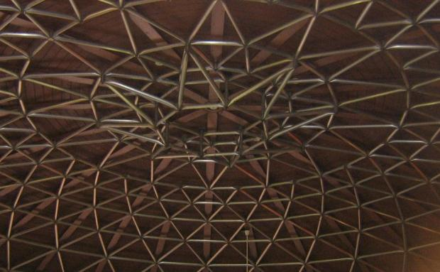Detail of the exposed  geodesic dome Kohl used for the rest stop roof. (photo: Alan McLeod)