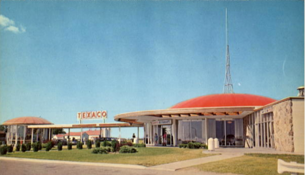A 1960's postcard of Kohl's spaceship domed rest stop in Woodstock, On
