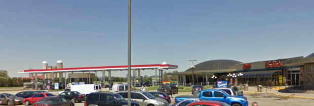 The same rest stop, drastically altered from the original. Note same farm in background. (photo: Google Streetview)