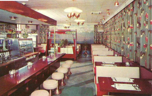 The decor in 1962 inside the rest stop restaurant was very similar to this.