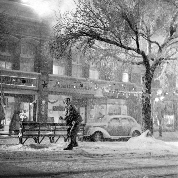 "George Bailey, played by actor Jimmy Stewart in the fictional town of Bedford Falls from ""It's A Wonderful Life"""