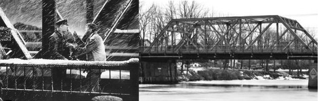 Here we see George on the bridge in the film, and on the right, the bridge in Seneca Falls.