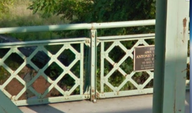 Zooming in on a streetview of the bridge there is a plaque notcieable....