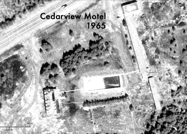 A 1965 aerial image close-up showing the Cedarview Motel. Note swimming pool at centre.