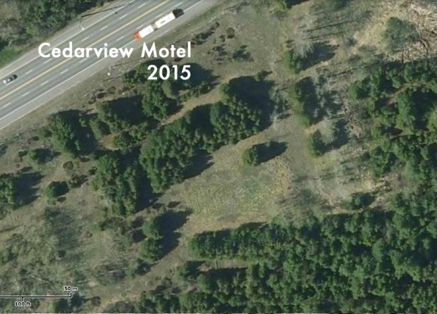 The motel area as it appears today....the clearing in the centre is where the swimming pool once was.