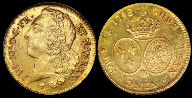 French gold coins from 1758 that may be the ones still buried in the sands of Prince Edward County.