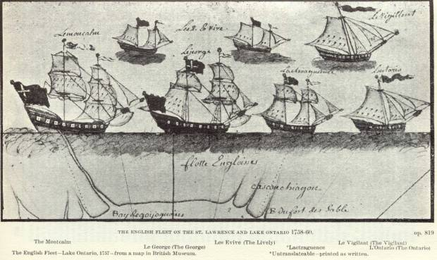 British gun ship fleet from the Seven Years War on Lake Ontario.