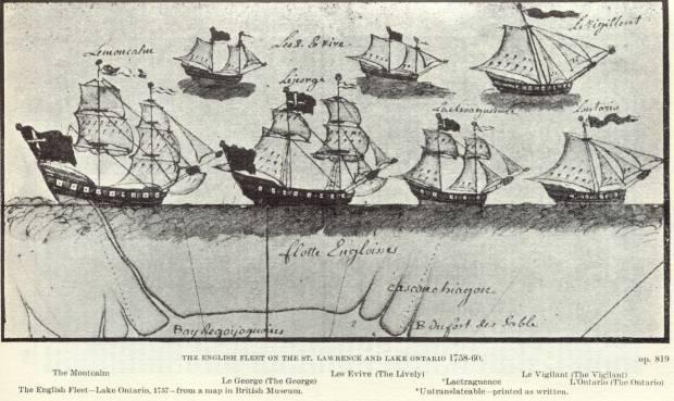 British gun ship fleet from the Seven Years War on Lake Ontario.