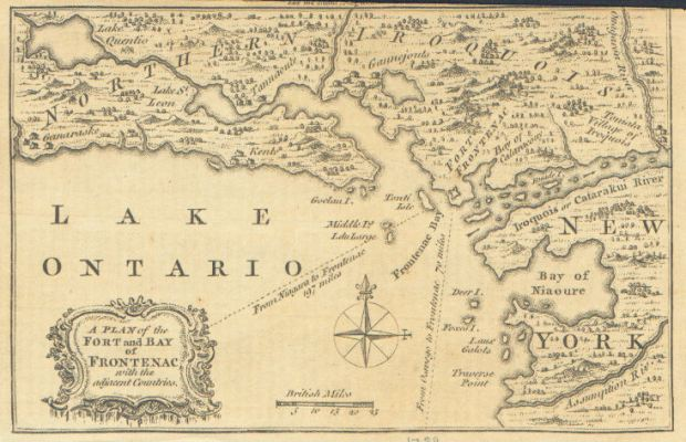 A British map of the same area soon after they captured Fort Frontenac.