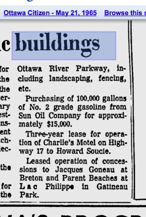A 1965 Ottawa Citizen article shows the motel land had already been purchased by the NCC who then leased it back to the motel.