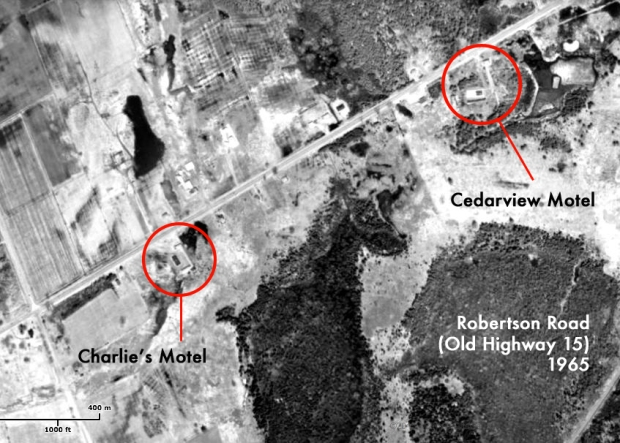 a 1965 aerial image clearly shows two motels in the area of Robertson Road west of Bells Corners.