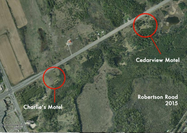 A current aerial image shows the motels have vanished and are now part of the NCC Greenbelt.