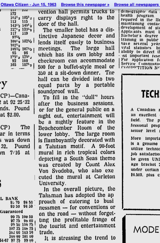 "A 1963 newspaper article describes the Beachcomber Room as being ""downstairs"""