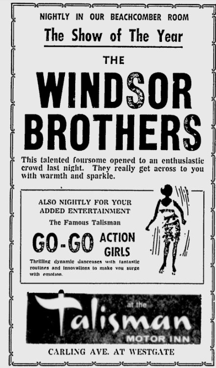 A newspaper ad from the Ottawa Citizen describing the Beachcomber Room with its GO-Go Girls and