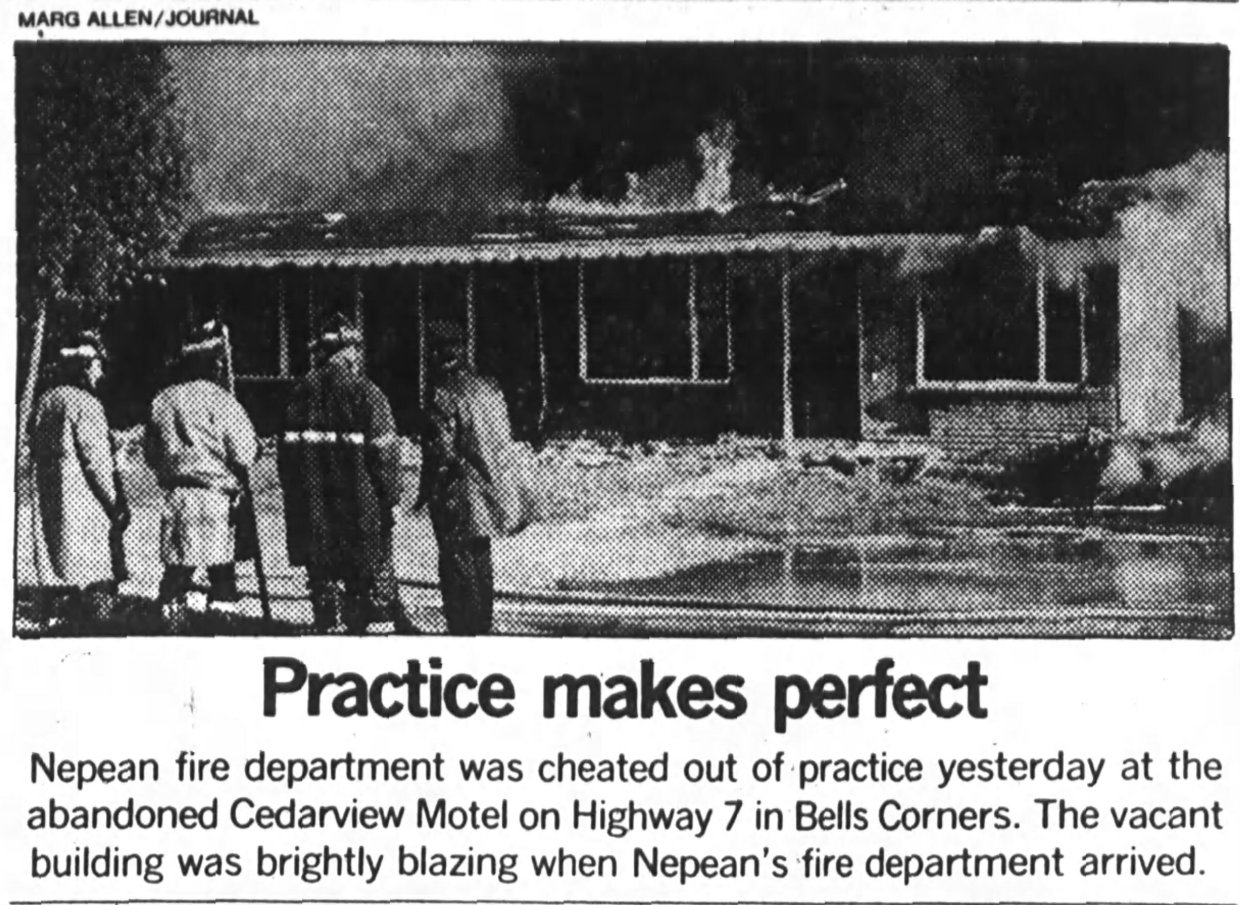 The abandoned Cedarview Motel burned down in 1979. (image courtesy Christopher Ryan/Ottawa Journal)