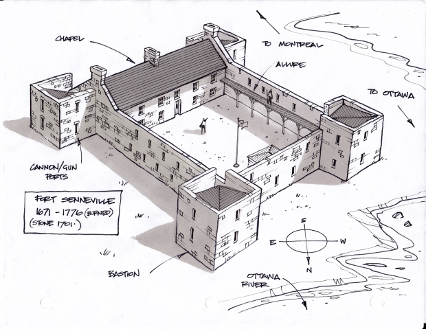 My conceptual sketch of how Fort Senneville may have looked in the 1700's