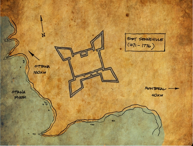 Top view sketch of the fort footprint near the Ottawa River.