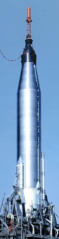 An Atlas rocket with the Mercury capsule attached circa 1963.