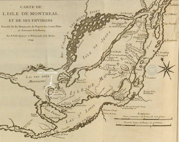 A map from 1744 showing the location of Fort Senneville.