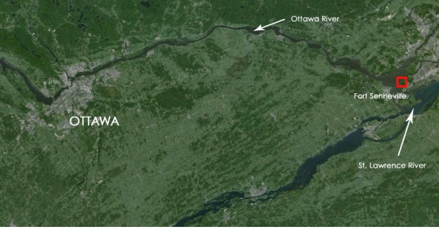 Location of the fort in relation to Ottawa.