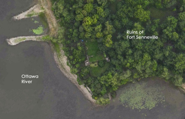 A 17th century stone fortress ruin lies in someone's backyard on the banks of the Ottawa River 90minutes east of Ottawa.
