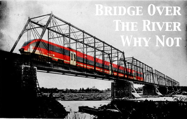 Concept of the O-train crossing the Ottawa River on the dormant Prince Of Wales bridge.