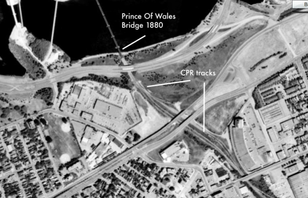 1965 aerial image showing the original Canadian Pacific rail line that crossed the Ottawa River on the bridge.