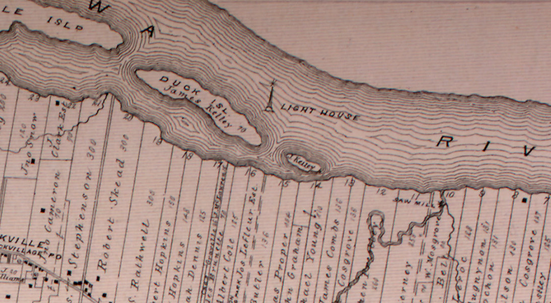 This old 1880 map clearly shows a lighthouse in between the Duck Islands on the Ottawa River.