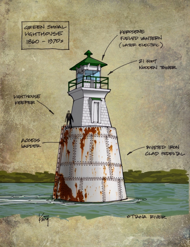 A concept sketch of how the lighthouse in the Ottawa River may have looked based on a photo taken by Lou Bouchard circa 1960s.