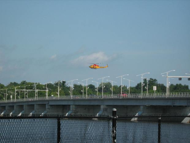 In 2009 an extensive search operation involving military and police equipment scoured the Ottawa River for what was reported to be a crashed UFO. (this photo I snapped is from that search near the Champlain Bridge)