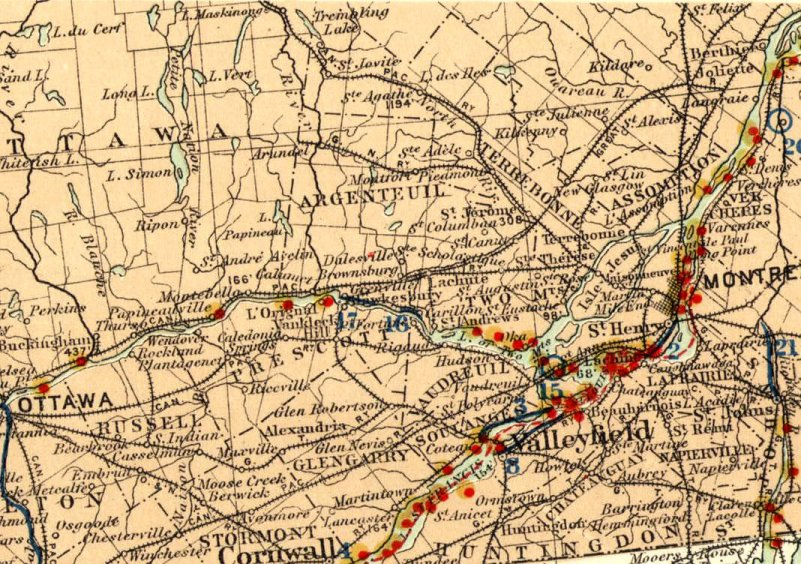 A 1904 map shows lighthouses in red, a number of which were on the Ottawa River.
