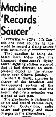 Local newspaper article relating the 1954 UFO event at the Ottawa facility.
