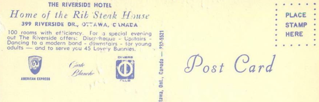 The back of the postcard gives an indication of what the Riverside Hotel offered its guests.