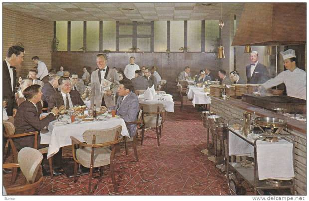 "A vintage postcard of The Rib at The Riverside Hotel. Note the  ""gentlemen"" conducting important business meetings over cocktails and steak."