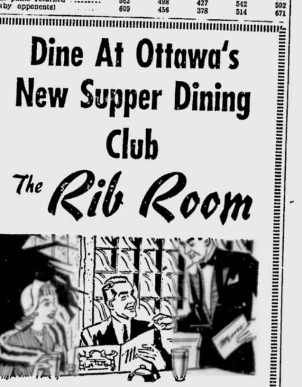 A 1962 Ottawa Citizen ad illustrates the tantalizing appeal of The Rib.