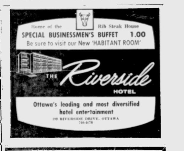 Another 1960s Ottawa Citizen ad for the Riverside Hotel.