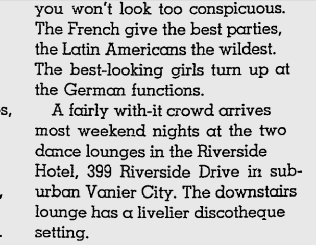 Description of how The Riverside Hotel was a happening spot to meet the ladies.