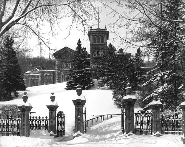 "Sir Hugh Allan's castle mansion on Mount Royal filled with mythological symbols. He named ""Ravenscrag"" after his favourite childhood castle ruins in Scotland."