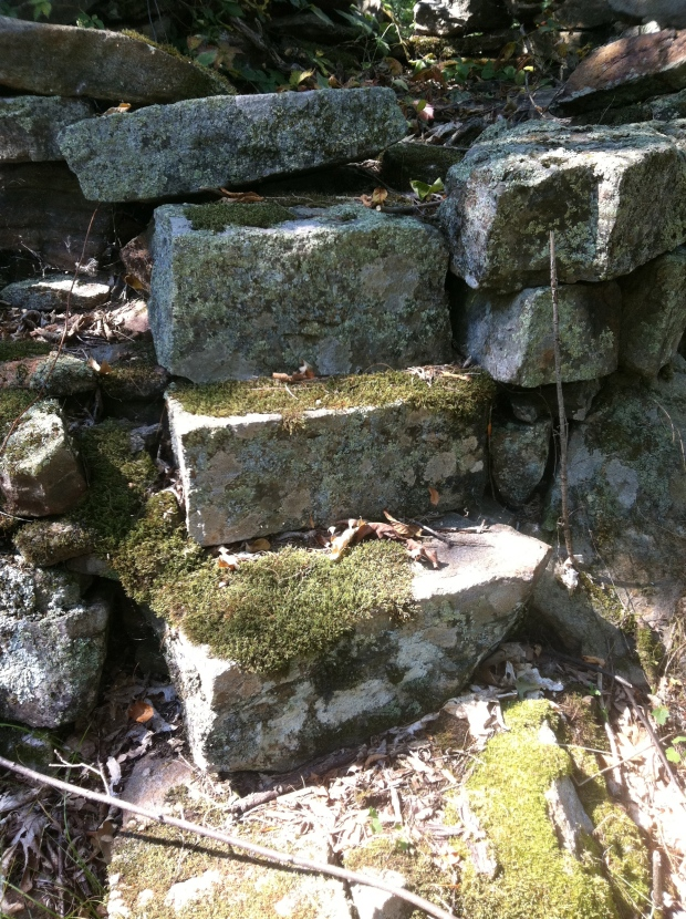 Purposely placed cut stones that form stairs into the stone structure.