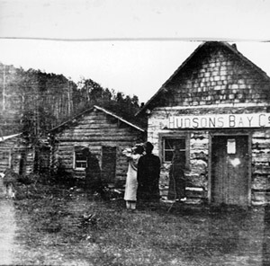 A typical Hudson's Bay Trading Post in the 1800's.