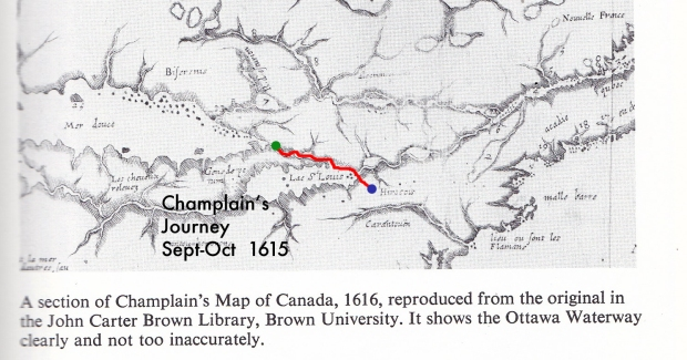 Champlain's actual map he drew of the land he explored drawn in 1632. I marked his route that he took in red.