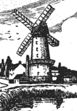 An sketch of an early 1800s windmill that would have been almost identical to the stone tower on Highway2.