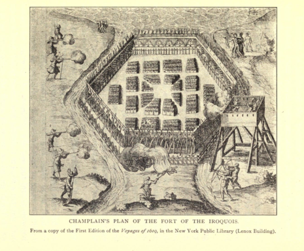 Champlain's own sketch of the Iroquois fortress he attacked on Oct.10 1615. Note the two rivers either side.