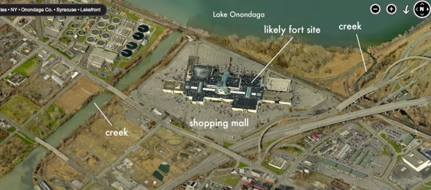 Where the fortress was it is now a shopping mall. Note two rivers either side.