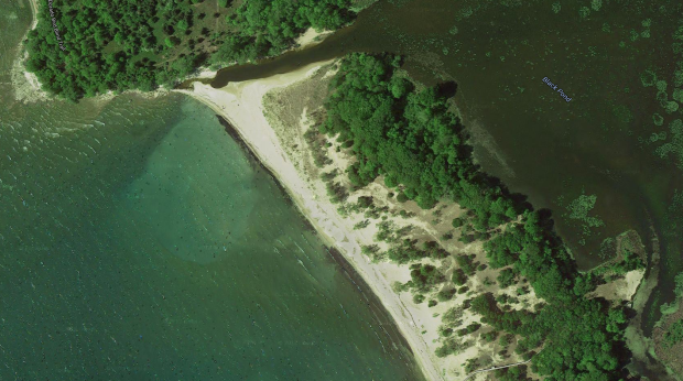 Aerial view of Champlain's landing point.
