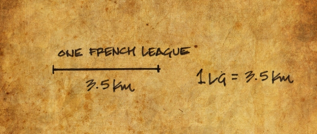 A conversion of a French league to modern kilometres was necessary to accurately plot his journey.