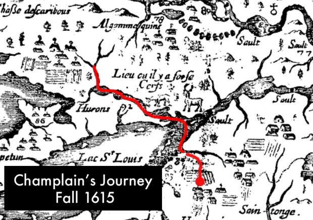 Another map of Champlain's with his route marked in red.