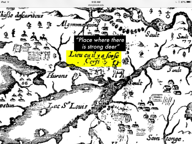 Champlain's map mentions the site of a great deer hunt he participated in. This matches to the area north of Kingston.
