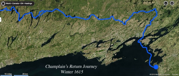 The return journey Champlain took in the late fall early winter of 1615.